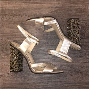 Zara Woman 36 6 Silver Beaded Block Heels